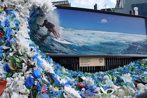wave of 1200kg of plastic waste from holywell beach London june2018