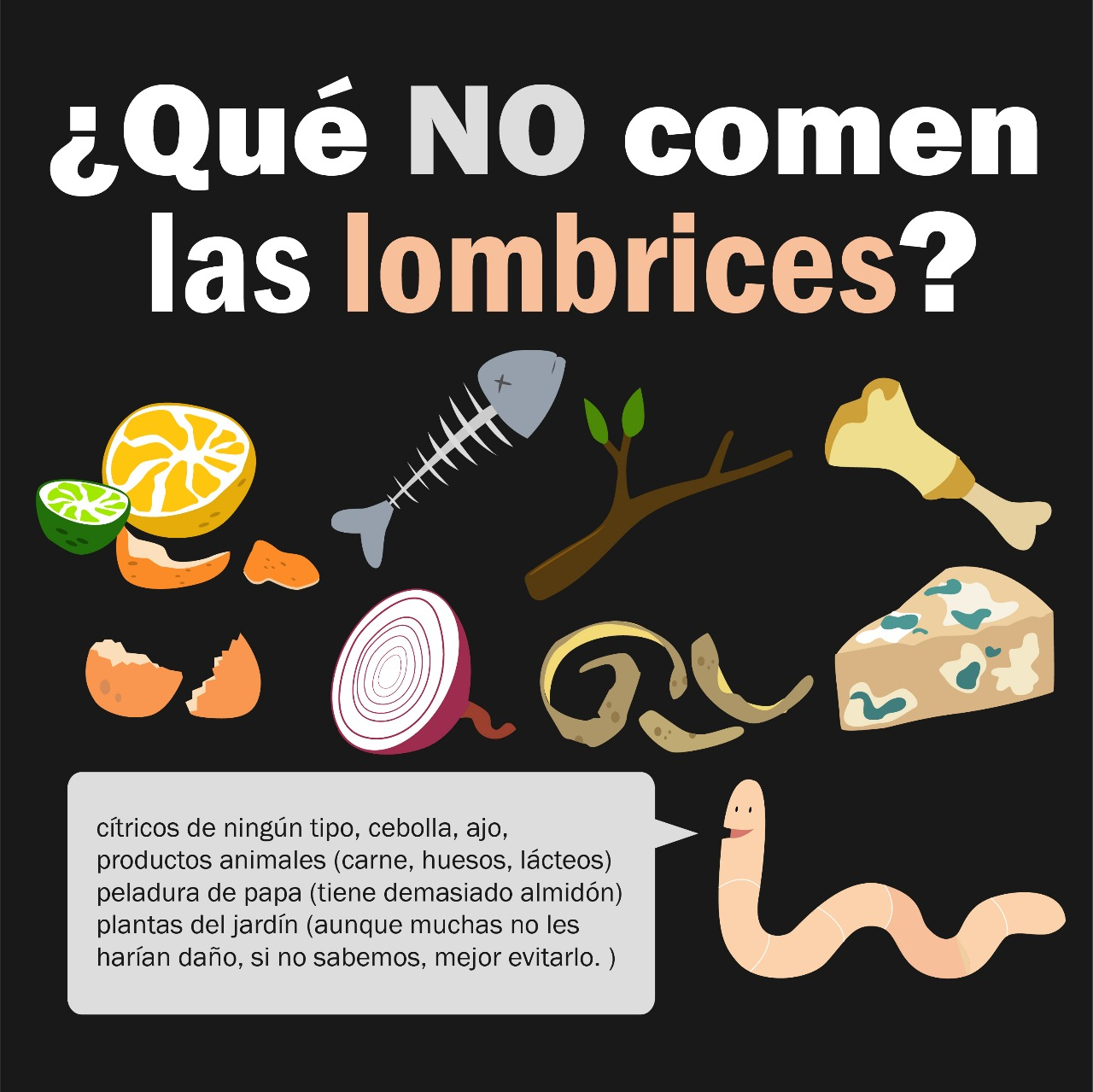 que no comen las lombrices NEGRO